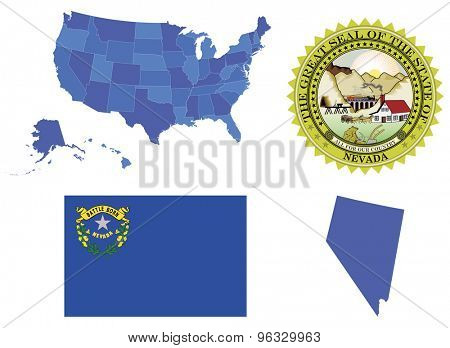 Vector Illustration of state Nevada, contains: High detailed map of USA High detailed flag of state Nevada High detailed great seal of state Nevada Nevada state,shape