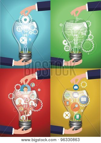 Set of images. Bulb idea concept with avatars ,icons, girds and formulas vector illustration