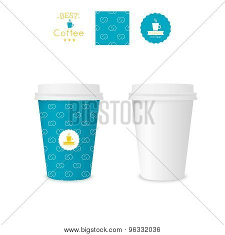 Closed paper cup for coffee with texture.