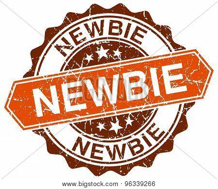 Newbie Orange Round Grunge Stamp On White