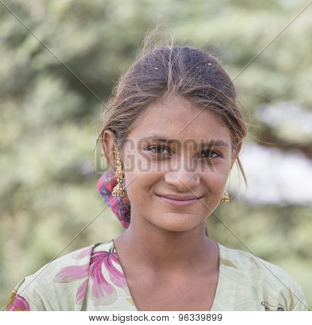 Indian Girl At The Attended The Annual Pushkar Camel Mela