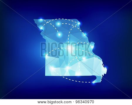 Missouri State Map Polygonal With Spotlights Places