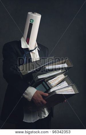 Symbol Of A Businessman With File Folders And Burn Out Syndrome