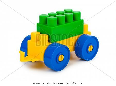 Toy car isolated on white background poster