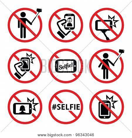No selfies, no selfie sticks vector signs