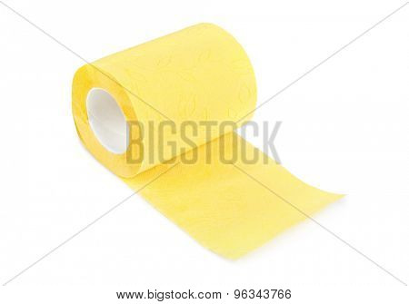 Yellow toilet paper isolated on white background