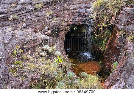 Little Waterfall In sinkhole Inside Rock At Mount Roraima