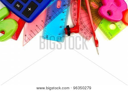 Border of colorful math themed school supplies