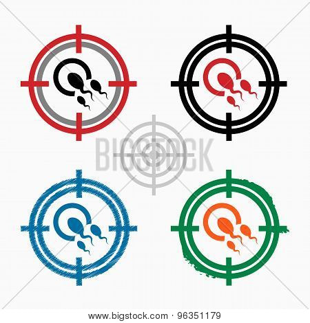 Sperms And Egg Icon On Target Icons Background