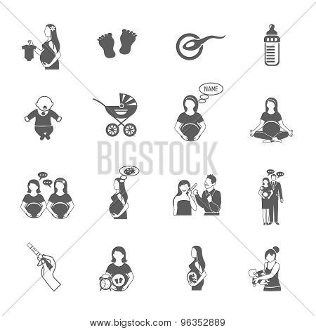 Pregnancy black icon set with expectant mother and child symbols isolated vector illustration poster