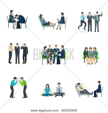 Mental health maintaining methods of group therapy and psychoanalytic appointment flat icons set abstract isolated vector illustration poster