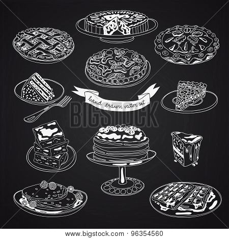 Vector collection of pie, cakes and sweets icons.
