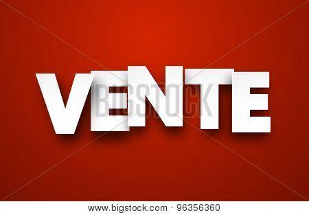 White vente sign over red background. Vector sale illustration.