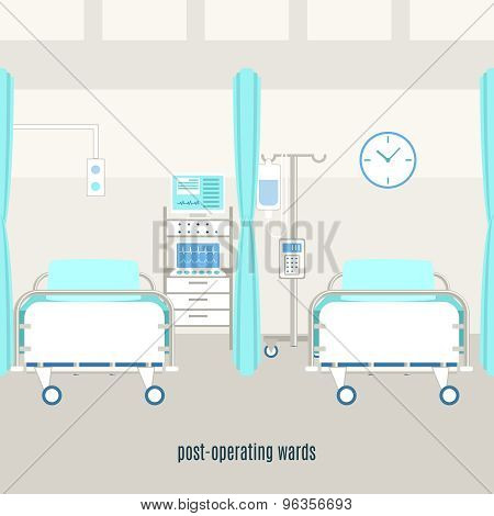 Medical post operating recovery ward poster