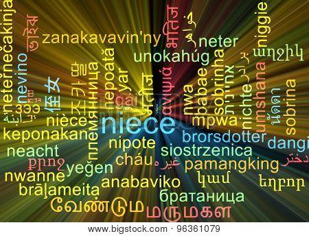 Background concept wordcloud multilanguage international many language illustration of niece glowing light