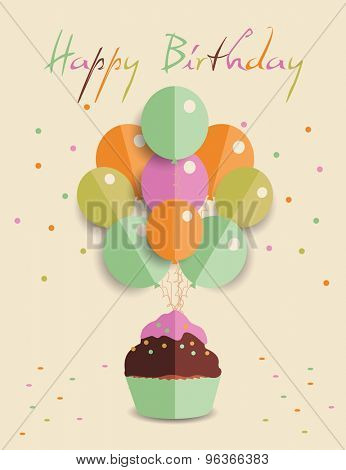 Template for happy birthday with origamy balloon and  cupcake