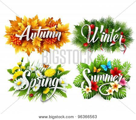 Four Seasons  Typographic Banner. Vector illustration