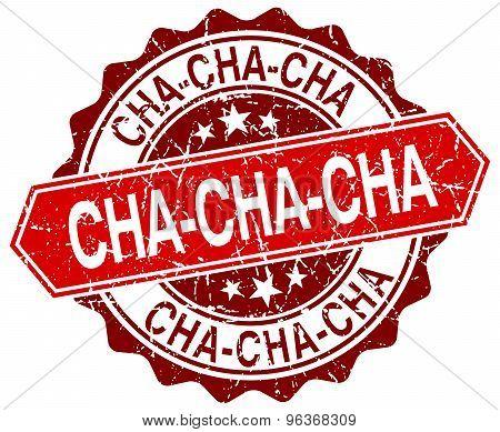 Cha-cha-cha Red Round Grunge Stamp On White