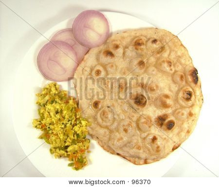 Indian Food, Roti Curry And Onions