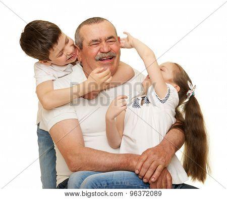 Grandfather and grandchildren portrait on white