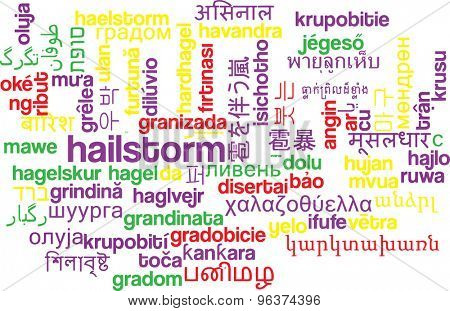 Background concept wordcloud multilanguage international many language illustration of hailstorm