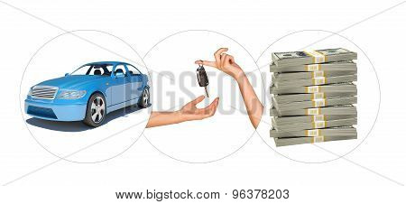 Blue car with hands and bundle of money