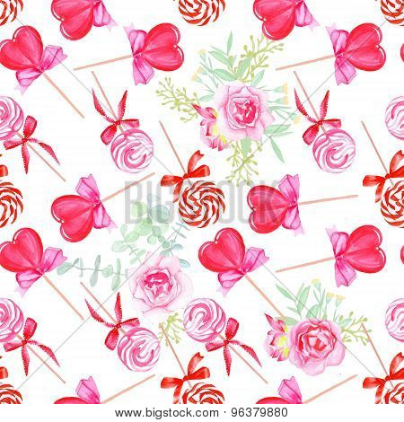 Pink Candy With Flowers Seamless Vector Print
