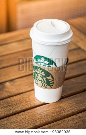 KRABI, THAILAND - July 18, 2015 : Glass of Starbuck Coffee Blended Beverages served at wood table in starbuck shop at Krabi , Thailand.