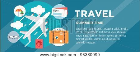 Booking Hotel. Travel infographic. Loupe, Building and Search. Vector stock illustration for design.