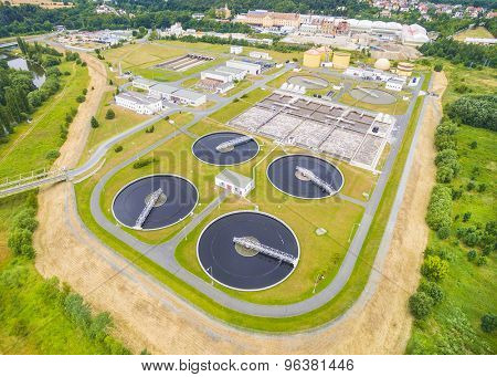 Aerial view of public sewage treatment plant for 165, 000 inhabitants of Pilsen city in Czech Republic, Europe.