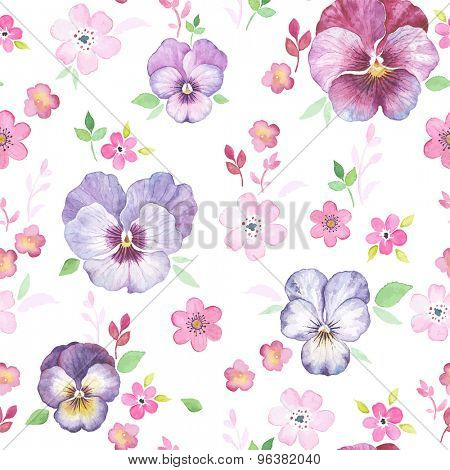 Seamless pattern with watercolor Pansy on white background, vector texture illustration in vintage style.