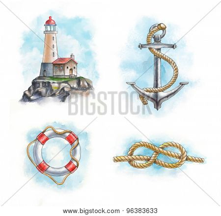 Lighthouse, anchor, lifesaver and knot. Hand-painted digital illustration. Included clipping path allows to separate objects from background.
