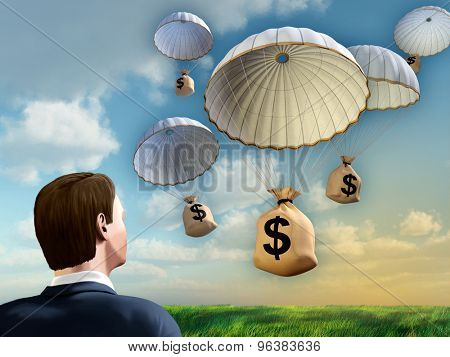 Businessman looking at some money bags falling from the sky with a parachute. Digital illustration.