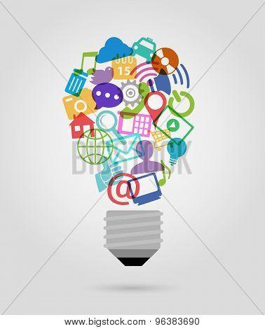Social Media Bulb Icons