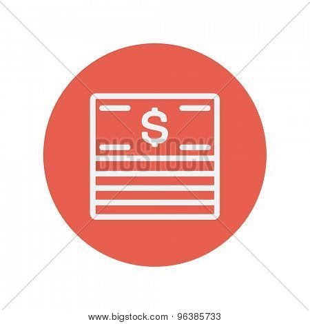Stack of dollar bills thin line icon for web and mobile minimalistic flat design. Vector white icon inside the red circle.
