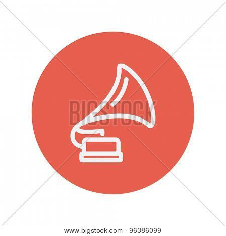 Phonograph thin line icon for web and mobile minimalistic flat design. Vector white icon inside the red circle.
