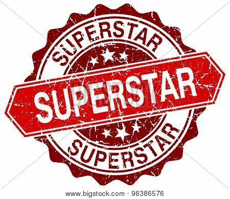 Superstar Red Round Grunge Stamp On White