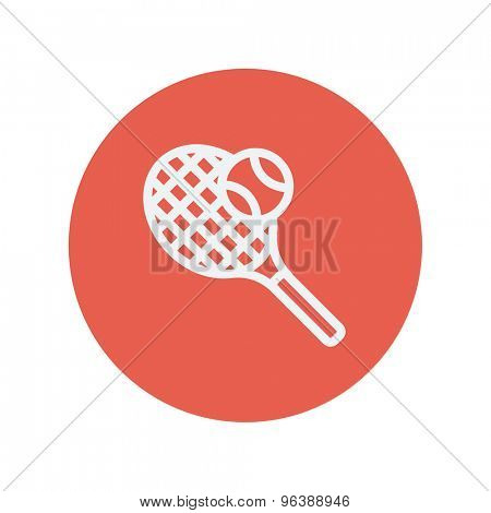 Tennis racket and ball thin line icon for web and mobile minimalistic flat design. Vector white icon inside the red circle
