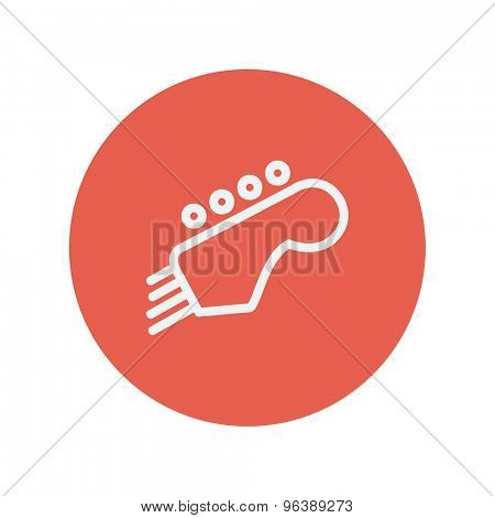 Guitar tuner thin line icon for web and mobile minimalistic flat design. Vector white icon inside the red circle