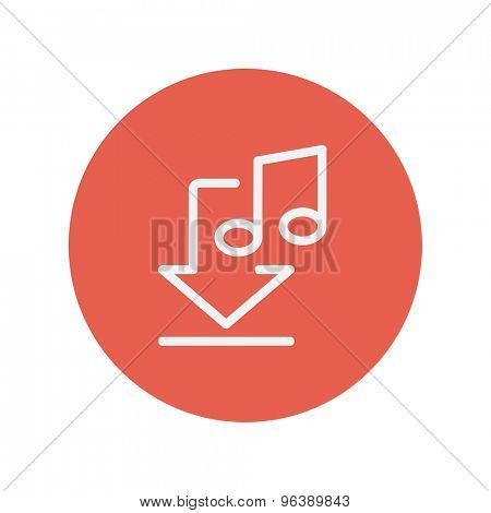 Download music thin line icon for web and mobile minimalistic flat design. Vector white icon inside the red circle