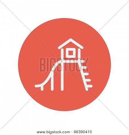 Playhouse with slide thin line icon for web and mobile minimalistic flat design. Vector white icon inside the red circle