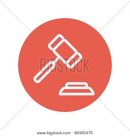 Gavel thin line icon for web and mobile minimalistic flat design. Vector white icon inside the red circle