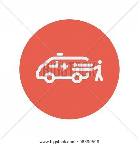 Man and ambulance car thin line icon for web and mobile minimalistic flat design. Vector white icon inside the red circle
