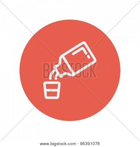Medicine and measuring cup thin line icon for web and mobile minimalistic flat design. Vector white icon inside the red circle.