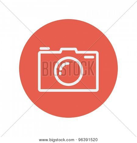 Camera thin line icon for web and mobile minimalistic flat design. Vector white icon inside the red circle.
