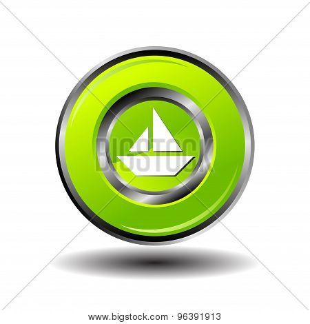 Sailing ship button vector. Sailing boat icon