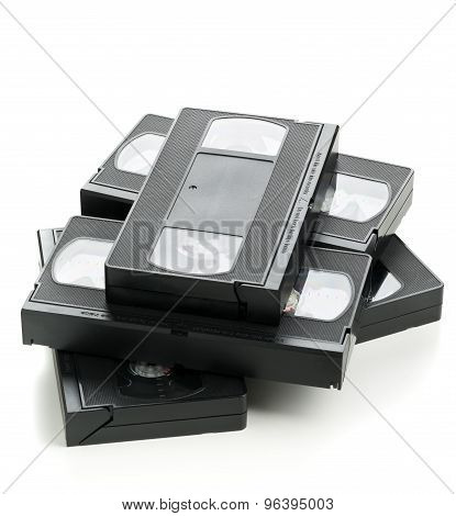 Heap Of Video Home System Movie Cassettes