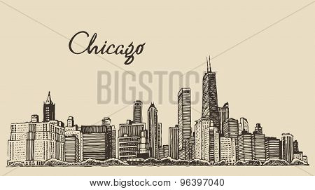 Chicago skyline big city engraving vector drawn