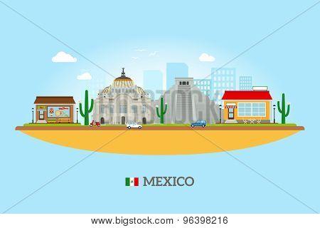 Mexico landmarks skyline