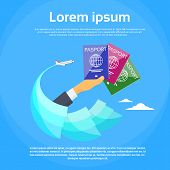 Passport Icon Hand Hold Travel Document Vacation Trip Booking Air Plane Flight Flat Logo Banner Vector Illustration poster